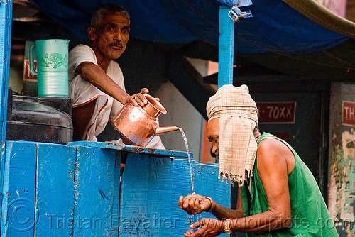 man pooring drinking water - delhi (india), people, street