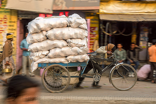 man pushing cargo bike with heavy load (india), bags, bearer, cargo tricycle, cargo trike, freight tricycle, freight trike, heavy, load, man, moving, sacks, transport, transportation, transporting, varanasi, walking