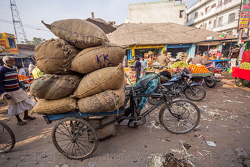 man pushing cargo tricycle with heavy load (india), bags, bearer, cargo tricycle, cargo trike, freight tricycle, freight trike, heavy, load, man, moving, pushing, sacks, street market, transport, transportation, transporting, varanasi, walking