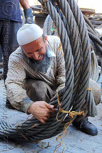 steel cable, beard, cables, industrial, istanbul, knot, man, muslim, roll, rope, steel cable, tie, tying, worker