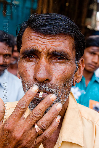 man smoking (india), cigarette, hand, sailana, unshaven man