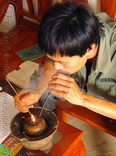man smoking tobacco pipe - vietnam, people, smoke, smoker
