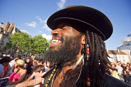beard, dreadlocks and hat, black man, dreads, gay pride, paris, people