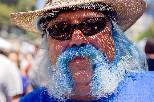 blue beard, bandana, blue beard, haight street fair, man, straw hat, sunglasses