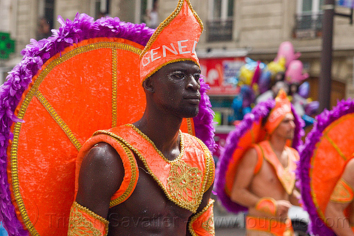 man with brazilian carnival costume - carnaval tropical de paris, brazilian, carnaval tropical, costume, hat, headdress, man, parade, paris