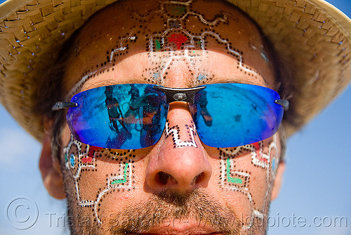 man with face painting - burning man 2009, facepaint, hat, people, straw hat, sunglasses