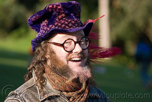 hippie hat, beard, eyeglasses, eyewear, hippie, man, peter doty, prescription glasses, purple hat, spectacles