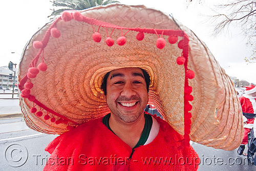 man with large mexican sombrero - santacon (san francisco), andrew, christmas, costume, man, mexican hat, red, santa claus, santacon, santarchy, santas, sombrero, straw hat, the triple crown