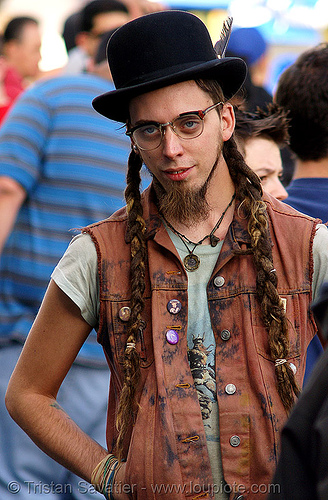 man with long braided dreadlocks hair, amish, beard, bowler hat, bracelets, braid, braided hair, deads, double dutch braids, dreadlocks, eyeglasses, eyewear, french, hippie, man, prescription glasses, spectacles, vest