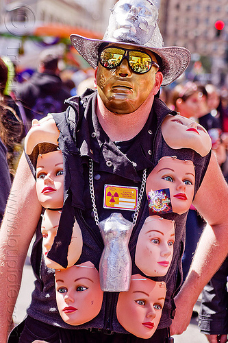 man with masks costume - how weird street faire (san francisco), costume, hat, man, mannequin planet, masks