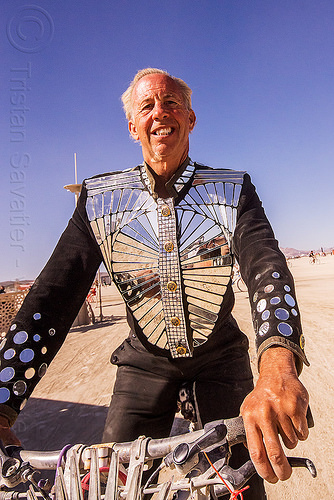 man with mirror jacket - burning man 2015, costume, fashion, jacket, man, mirrors, suit