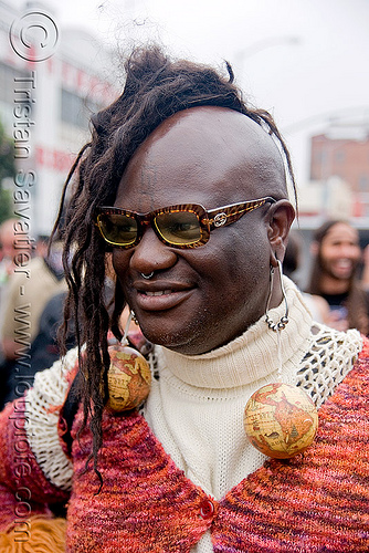 man with mohawk dreadlocks - up your alley fair (san francisco), african american man, black man, dreadlocks, earrings, miss jupiter