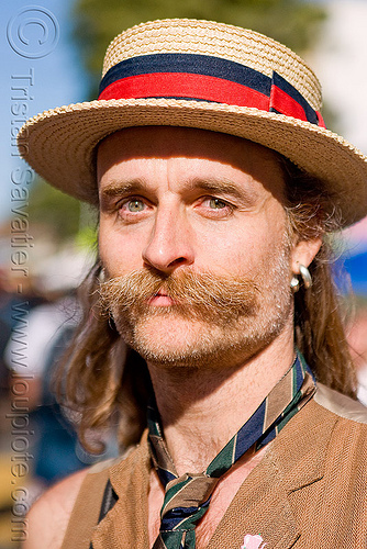 man with moustaches and straw hat - randal smith, costume, haight street fair, man, mustache, neck tie, randal smith, straw hat
