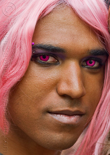 pink contacts, color contact lenses, eyebrow piercing, festival, gay pride, man, paris, people, pink contact lenses, pink contacts, special effects contact lenses, theatrical contact lenses