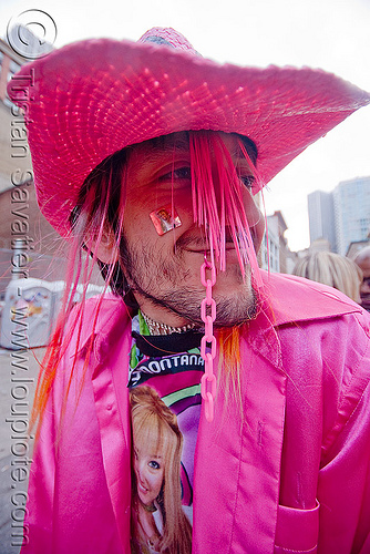 man with pink costume - hat - rashy (san francisco), costume, how weird festival, man, pink, rashy, straw hat