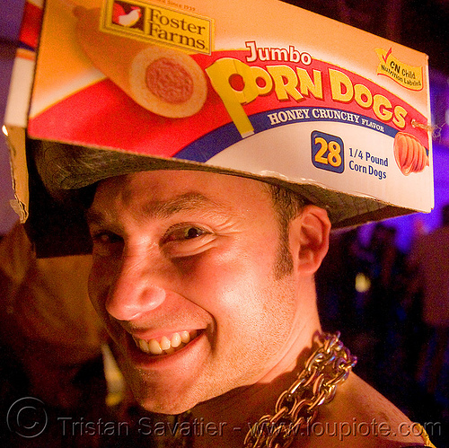 porndogs, corn dogs, foster farms, ghostship, ghostship 2008, halloween, hat, man, people, rave party, space cowboys