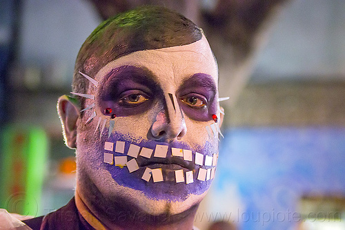 man with purple skull makeup, bindis, day of the dead, dia de los muertos, face painting, facepaint, halloween, man, night, purple, skull makeup, teeth