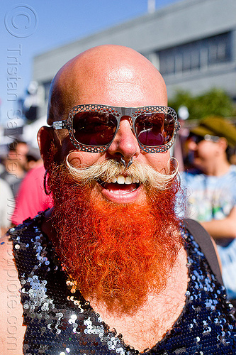 red beard, bald, body jewelry, diablodivine, dusti cunningham, folsom street fair, man, nose piercing, red beard, septum piercing, sunglasses