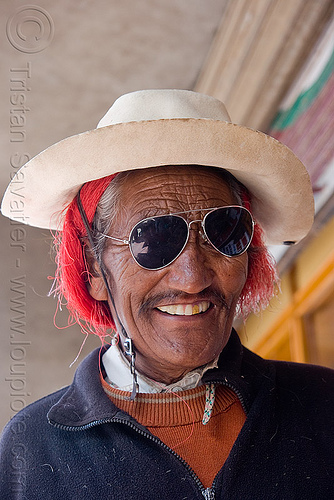 man with red hair and sunglasses - leh (india), hat, india, ladakh, leh, man, red hair, sunglasses