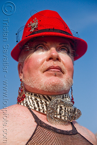 man with red hat and belt collar - folsom street fair 2009 (san francisco), collar, man, red hat