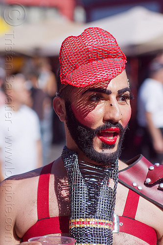man with red lips, beard, costume, fashion, folsom street fair, hat, headwear, lips headpiece, makeup, man, red lipstick