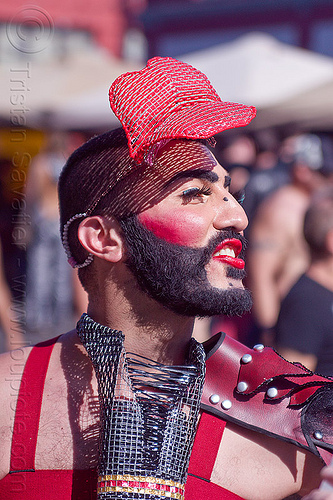 man with red lipstick - folsom st fair 2012, beard, costume, fashion, folsom street fair, hat, headdress, headpiece, lips, lips headpiece, mesh, people