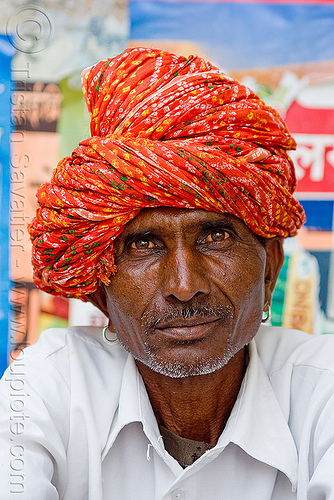 man with red turban (india), earrings, hat, headdress, headwear, people, sailana