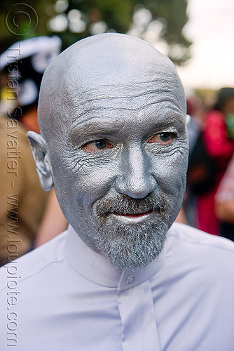 man with silver face paint - silver man - burning man decompression (san francisco), body art, body paint, body painting, facepaint, man, silver paint