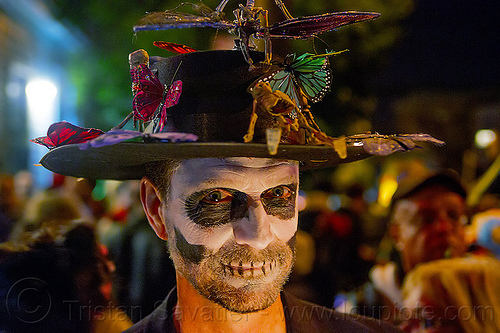 man with skull makeup and decorated hat, beard, butterflies, day of the dead, decorated hat, dia de los muertos, face painting, facepaint, halloween, man, night, skull makeup