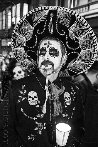 man with sombrero mexican hat - sugar skull makeup - dia de los muertos, candle, day of the dead, dia de los muertos, face painting, facepaint, halloween, man, mexican hat, night, skulls, sombrero, sugar skull makeup