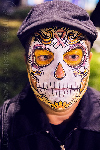 man with sugar skull makeup - dia de los muertos, cap, day of the dead, dia de los muertos, face painting, facepaint, halloween, hat, man, night, pink ribbon, sugar skull makeup
