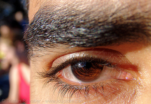 thick eyebrow, black, brown, close up, dark, eye color, eyelashes, iris, macro, michel, pupil, right eye, thick eyebrow