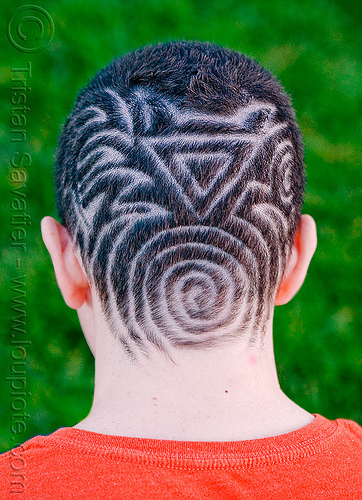 tribal haircut, designs, head, jeremiah, man, shaved, shaving, short hair, spiral, triangle, stock photo