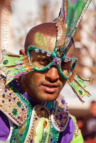 man with underwater creature samba costume, african american man, black man, carnival costume, carnival mask, joseph, samba costume, samba dancer, samba funk, sea creature, underwater creature