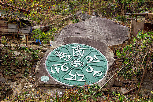 mandala carved on large rock - sikkim (india), buddhism, carved, carving, circle, green, mandala, painted, rock, sikkim, tibetan