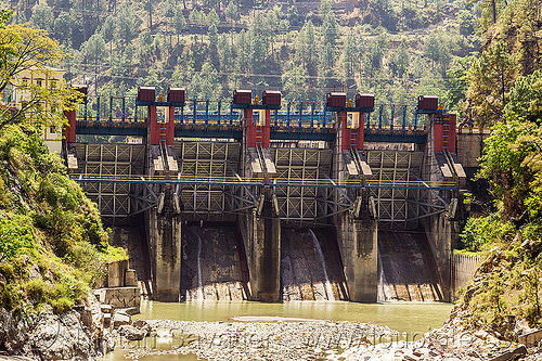 maneri dam (india), bhagirathi river, bhagirathi valley, floodgates, hydro electric, india, maneri bhali hydro project, maneri dam, river bed, tainter gates