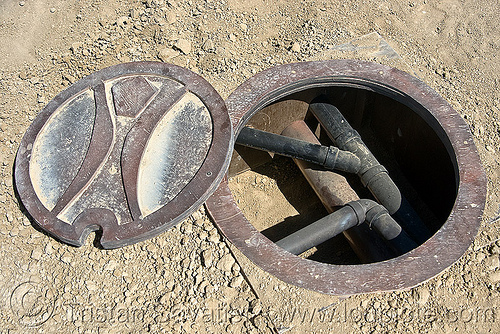 manhole - burning man metropolis, manhole cover, open, pipes