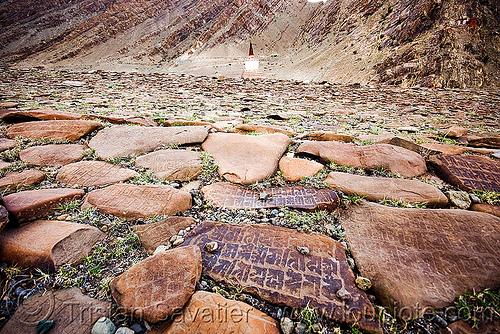mani stones, carved, gompa, hemis, hemis gompa, ladakh, mani wall, monastery, prayer stone wall, prayer stones, tibetan, tibetan monastery