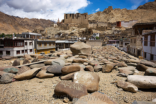 mani stones - leh - ladakh (india), carved, india, ladakh, leh, mani stones, mani wall, prayer stone wall, prayer stones, tibetan, लेह