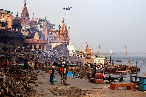 manikarnika burning ghat - varanasi (india), cremation, cremation ghat, funeral, funeral pyres, ganga, ganga river, ganges, ganges river, ghats, hindu, hinduism, manikarnika gaht, people, water, wood