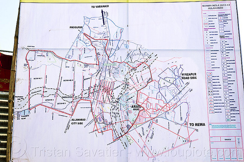 map of kumbh mela 2013, confluence, ganga river, ganges river, hindu, hinduism, kumbh mela map, kumbha mela, maha kumbh mela, rivers, triveni sangam, yamuna river