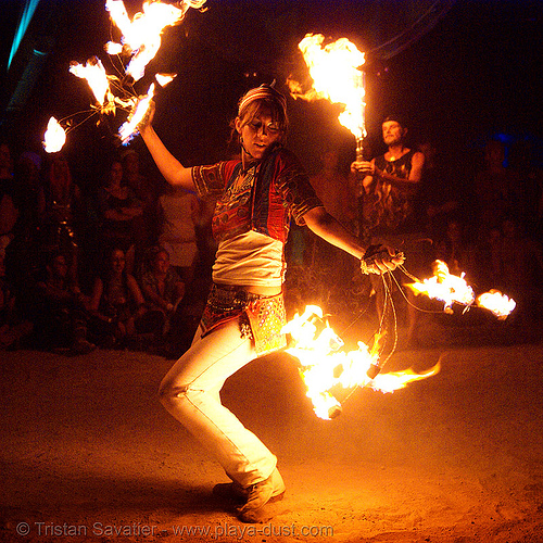 maqi aka lauraleye dancing with fire flies - burning man 2007, dancer, fire dancer, fire dancing, fire performer, fire spinning, flame, hilauraly, night, people, woman