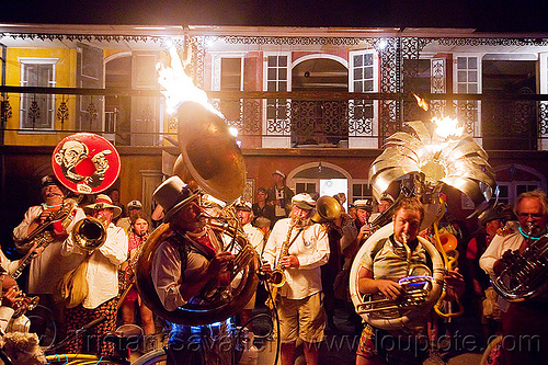 marching band at the french quarter - burning man 2012, burning band, crowd, fire, flames, french quarter, marching band, musician, night, sousaphones, trumpet, tubas