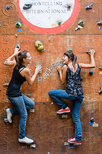 mariel and celina on the climbing wall, backpackers, cordoba, cordoba capital, córdoba, córdoba capital, hostel, noroeste argentino, people, sisters, woman