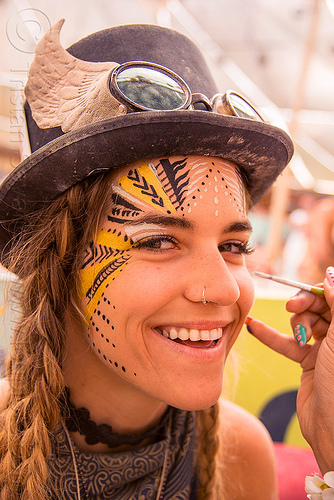 mary-claude - burning man 2016, burning man, center camp, face paint, face painting, hat, mary-claude, woman