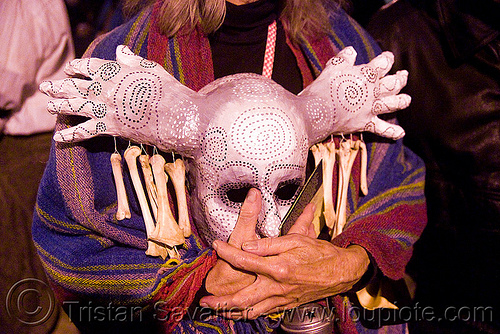 mask with hands - dia de los muertos - halloween (san francisco), day of the dead, dia de los muertos, halloween, hands, mask, night