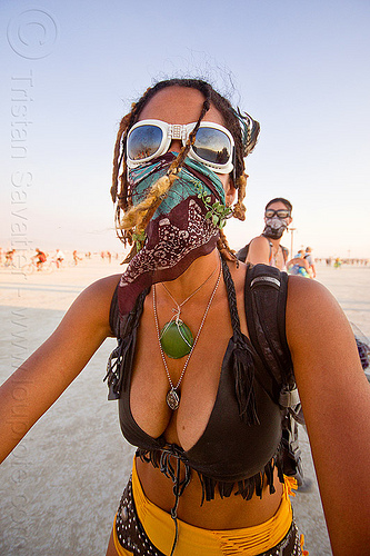 masked girl with goggles - burning man 2013, bandana, goggles, green stone necklace, klace, mask, necklaces, woman