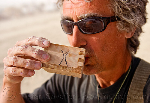 masu sake cup, box, burning man, drinking, masu, self portrait, selfie, sunglasses, wood, wooden sake cup