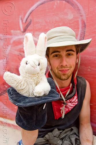 max and his rabbit in a hat puppet - burning man 2009, bunny, people