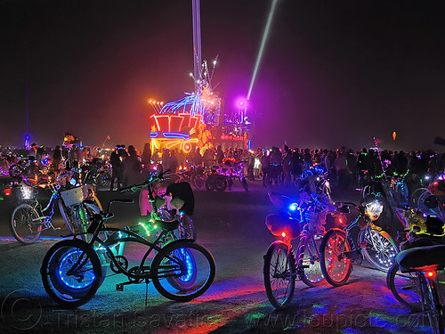 mayan warrior art car - burning man 2019, burning man, glowing, lasers, mayan warrior art car, mutant vehicles, night